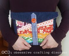 Rainbow Scraps E-Reader Sleeve | AllFreeSewing.com