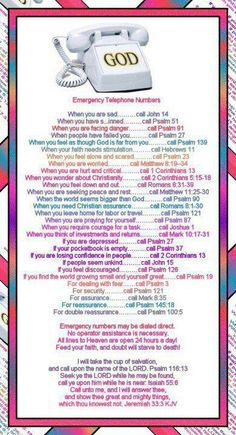 bible emergency numbers - Google Search