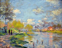 Claude Monet, Art Painting Impressionism Impressionist Spring by the Seine Claude Monet, Famous Landscape Paintings, Monet Paintings, Abstract Paintings, Contemporary Paintings, Painting Art, Artist Monet, Figurative Kunst, Pierre Auguste Renoir
