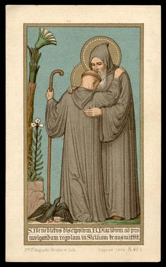 Vintage holy card depicting Sts. Benedict and Placid