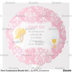Shop First Communion Blonde Girl Pink Damask Balloon created by KPW_Invitations. Pink Girl, Boy Or Girl, Photo Balloons, First Communion Invitations, Pink Damask, Balloon Shapes, Custom Balloons, Hat Shop, First Holy Communion