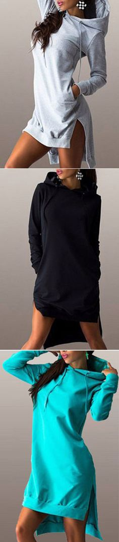 Sometimes you gotta take your sweet time and sunday on a monday. The Sweatshirt Dress features drawstring hoodies,high low design and slit at sides. Get it at CUPSHE.COM with amazing price !