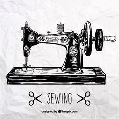 Máquina de coser retro Vector Gratis