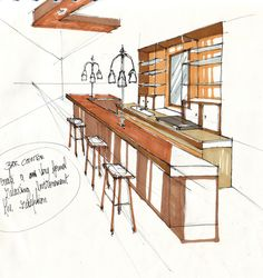 Quick sketch of a bar counter.