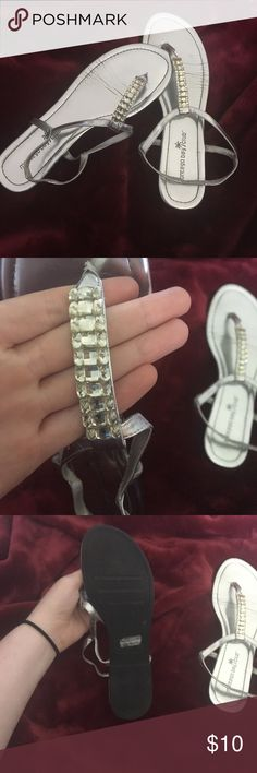 Silver jeweled sandals! Awesome sandals for school dances, cruises, or just a night out on the town! Only worn a few times to school dances. Great condition. montego bay club Shoes Sandals