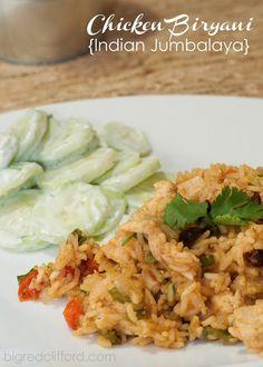 big red clifford: chicken biryani & cucumber salad