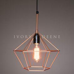 Diamond Cage Pendant Copper Tone Wire Light
