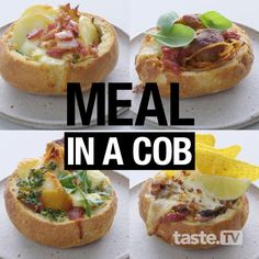 Here's what happens when you take four classic dinners - Mexican beef, creamy chicken, spaghetti and meatballs, and chicken kiev - and put them in a cob! Loaf Recipes, Cooking Recipes, Budget Recipes, Dinner Recipes, Cob Loaf Dip, Cob Dip, First Bread Recipe, Cobb Loaf, Beginners Bread Recipe