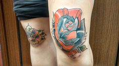 Neotraditional orange rose tattoo by #tondriktattoo, please do not copy