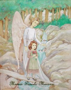 Oil painting. 'Her Guardian Angel'. Artist: Manon Massari. https://www.facebook.com/OfMiArt