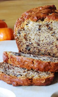 Banana bread with walnuts. Super moist, perfectly sweetened, and easy banana bread. No mixer needed. | JuliasAlbum.com