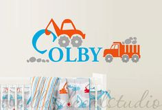 Construction Truck Digger Boys Personalized Name Monogram Initial Kids Vinyl Wall Decal Sticker on Etsy, $38.50
