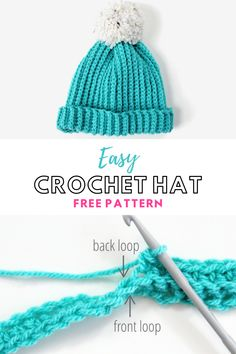 Are you looking for an easy crochet project for beginners? Yes, great, me too. I think these crocheted hats might be exactly we've been looking for.   There's no complicated stitches or patterns, you don't need to be able to crochet in the round or increase or decrease stitches. All you need to do is crochet a simple rectangle.  #crochet #hat #crochethat #crochetpattern #freepattern #pattern