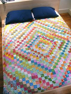 Trip Around the World quilt composed of 6 x 6 blocks by { philistine made }