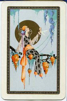 Vintage Swap Playing Card Stunning Art Nouveau LADY #1 blue