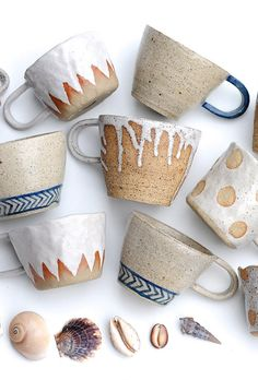 Loving these mugs and dreaming of cozy nights drinking hot cocoa in front of the fire curled up with my man. but more realistically it's drinking sugarless coffee in front of my computer! Liquorice Moon Studios on Etsy ui. Ceramic Clay, Ceramic Pottery, Ceramics Pottery Mugs, Pottery Pots, Glazed Pottery, Clay Mugs, Thrown Pottery, Slab Pottery, Ceramic Bowls