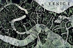 Linocut-Map-of-Venice ABI DAKER