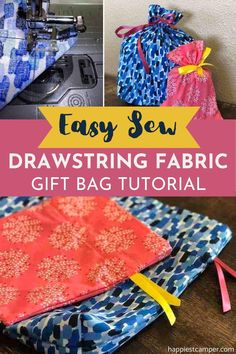 If you're looking for an easy sewing project that will be useful come Christmas time, this Drawstring Gift Bag tutorial is your best bet! Why pay for expensive gift bags, when you can sew these easily yourself. These handmade gift bags will make your present extra special! Easy DIY Sewing. Beginner Sewing Projects. Easy Sew Drawstring Fabric Gift Bag Tutorial Custom Gift Bags, Customized Gifts, Easy Sewing Projects, Sewing Projects For Beginners, Sew Gifts, Expensive Gifts, Fabric Gift Bags, Christmas Time, Easy Diy