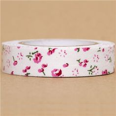 kawaii white Fabric Deco Tape with small pink flowers