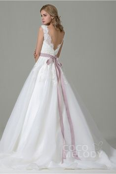 Classic A-Line V-Neck Natural Train Organza Satin Ivory Sleeveless Open Back Wedding Dress with Appliques and Ribbons