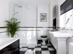 Art Deco Glamour.  Black and white bathroom.