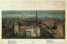 During the war, William C. Wilson (Molly's brother) and his family lived in this area of St. Louis, not far from the Campbell House, and attended the First Presbyterian Church, shown in the center of this image. View of St. Louis from Lucas Place. Color lithograph by E. Sachse, 1865. Missouri History Museum.
