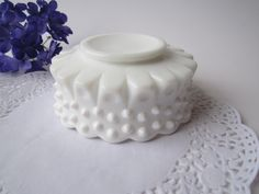 Vintage Fenton Milk Glass Hobnail Bonbon Bowl by mymilkglassshop, $15.50