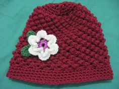 Raspberry Stitch Beanie - Comes in all Sizes and video captions for many lanuages! Also Left hand Version included.