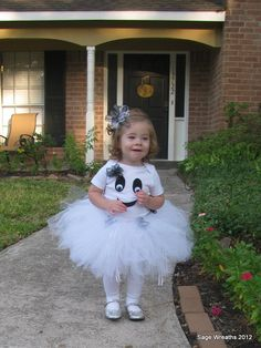 Toddler Girl Ghost Costume with Tutu and Bow
