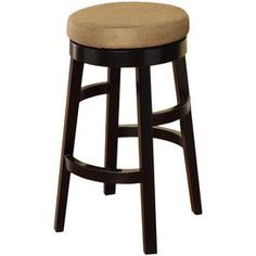 Wood barstool with a bicast leather seat.Product: BarstoolConstruction Material: Wood and bicast leatherColor: Brown and beigeDimensions:  30 H x 20 Diameter Note: Assembly required