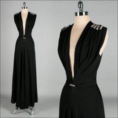 Vintage Dress Black Plunging Neckline by millstreetvintage Vintage Gowns, Mode Vintage, Vintage Outfits, Vintage Clothing, Vintage Style, Belle Epoque, 1930s Fashion, Vintage Fashion, Mode Costume