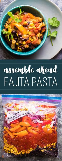 This one pot black bean fajita pasta can be assembled ahead of time and frozen!  When you're ready to serve, just dump everything in a pot and cook it up.  An easy meal prep dinner recipe.