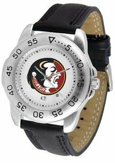 Florida State Seminoles FSU NCAA Mens Leather Sports Watch by SunTime. $47.95. Leather Band-Scratch Resistant Crystal. Adjustable Band. Calendar Function With Rotating Bezel. Officially Licensed Florida State Seminoles Men's Workout Sports Watch. Men. This handsome eye-catching Mens Sport Watch with Leather Band comes with a genuine leather strap. A date calendar function plus a rotating bezel/timer circles the scratch-resistant crystal. Sport the bold colorful...