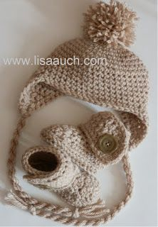 free crochet baby hat pattern with ear flaps and ears.    BEST idea for strings!