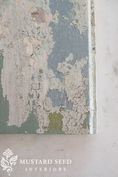 using Beeswax Finish between coats of Milk Paint creating a chippy finish - Miss Mustard Seed