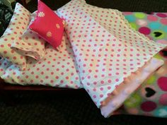 AG doll bedding set, American Girl blanket, minky blanket, Bitty Baby bedding, doll accessories, gifts for  girls, Hanukkah gift, Christmas. by MumsMittens on Etsy