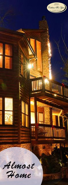 Nestled in the hills of the Great Smoky Mountains, this five bedroom luxury cabin has five and two half bathrooms.
