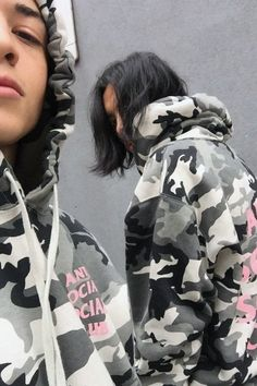 "Anti Social Social Club ""Snow Camo Hoodie"" cute combo of monochrome b and w camo with light pink letters"