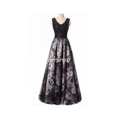 Black Floral Print Sleeveless V Neck Floor Length Cap Sleeve Long Prom... (10,255 INR) ❤ liked on Polyvore featuring dresses, gowns, prom gowns, floor length gowns, long v neck dress, long evening gowns and v neck prom dress