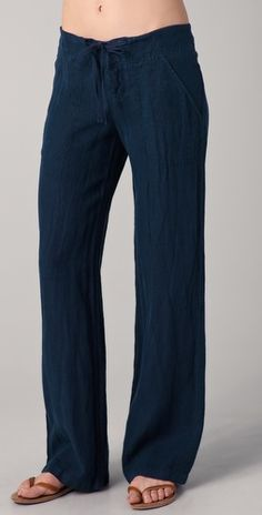 Relaxed navy linen Vince pants