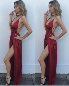 Prom Dress Sexy, Evening Dresses For Teens, Red Evening Dresses, Simple Prom Dress, Open Back Prom Dress Prom Dresses 2019 Plum Prom Dresses, Open Back Prom Dresses, Simple Prom Dress, Backless Maxi Dresses, V Neck Prom Dresses, Prom Dresses For Teens, Women's Evening Dresses, Cheap Prom Dresses, Rave Outfits