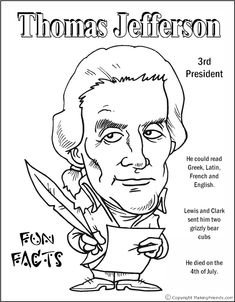 Thomas Jefferson Coloring Pages Printable Social Studies Activities, Teaching Social Studies, Teaching Resources, History Class, Us History, American Presidents, Presidents Day, Thomas Jefferson Facts, George Washington Birthday