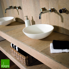 Lovely aged wooden bathroom furniture. Designed by Di Legno