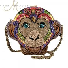 Mary Frances beaded embellished handbags fuse whimsy with elegance, femininity with functionality. Richly embellished with opulent natural stones and trims from all over the world, each piece is handcrafted in intricate detail. Novelty Handbags, Mary Frances Handbags, Year Of The Monkey, Mini Bag, Clutch Bag, Saddle Bags, Bananas, Fashion Accessories, Coin Purse