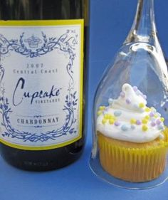 good idea for a party...everybody gets a cupcake and a wine glass. Cute table setup for when guests arrive. Maybe wine/champagne in the cupcake? by delores
