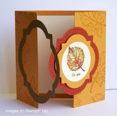 Stampin' Up! ... handmade gatefold card ...  interlocking framelits form latch ...  Window framelits ... rich and warm Fall colors ... great card ...