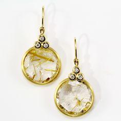 Italian designer earrings with diamonds and rutilated quartz set in yellow gold