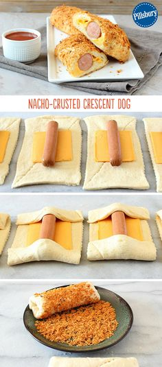 - Crunchy Crescent Nacho Dogs A fun twist on hot dogs! These crescent dogs get a nacho-inspired makeover no one will be able to resist. Simply wrap crescent dough around the dog with cheese, roll each in crushed nacho chips and bake to golden perfection! Crescent Dogs, Crescent Roll Recipes, Hot Dog Recipes, Recipes With Hotdogs, Burger Recipes, Good Food, Yummy Food, Think Food, Snacks