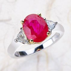 14K White And Yellow Gold Trillion And Oval  Engagement Ring Center is 10x8  Oval Lab Grown Red Ruby
