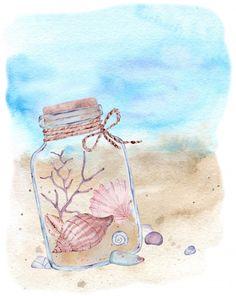 Sea Illustration, Illustrations, Sea Clipart, Colorful Cocktails, Vacation Scrapbook, Watercolor Sea, Nautical Design, Colorful Fish, Nursery Prints